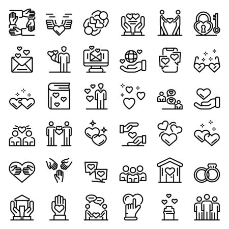 Affection icons set, outline style
