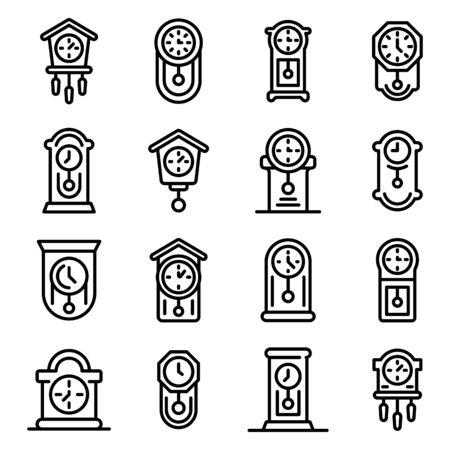 Pendulum clock icons set, outline style