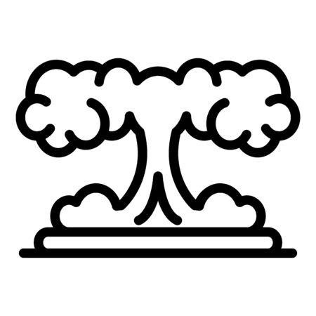 Atomic explosion icon, outline style Illustration