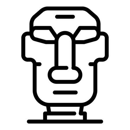 Easter Island moai statue icon, outline style Ilustração