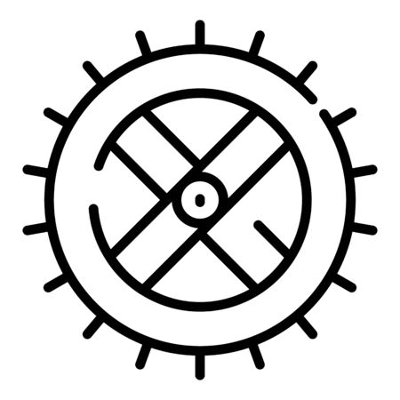 Watermill wheel icon, outline style