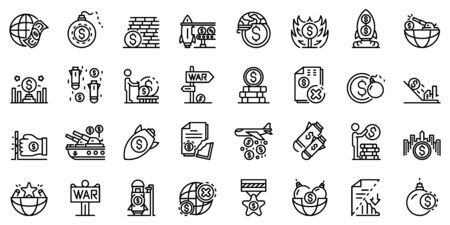 Trade war icons set, outline style