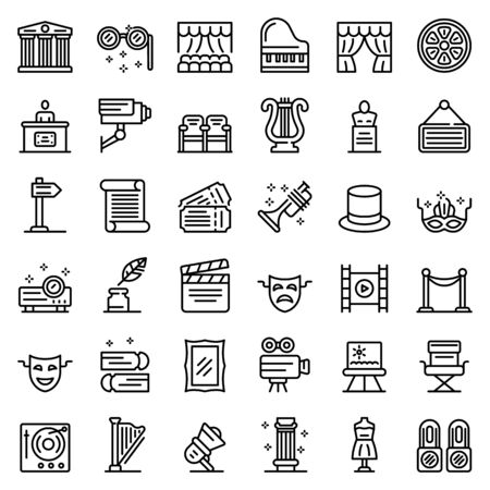 Theater museum icons set, outline style 일러스트