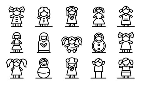 Doll icons set, outline style