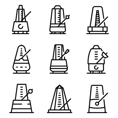 Metronome icons set, outline style