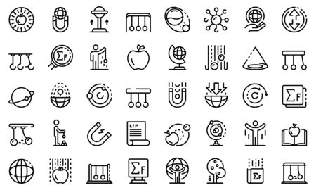 Newtons day icons set, outline style