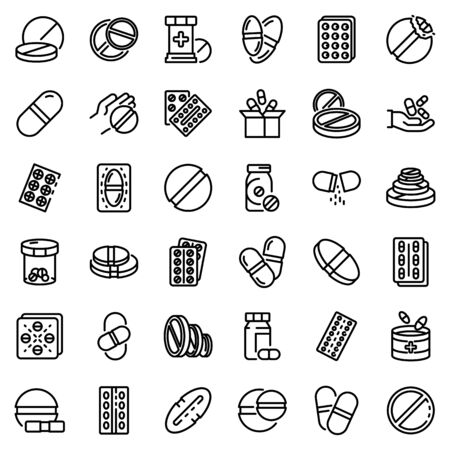 Pill icons set, outline style