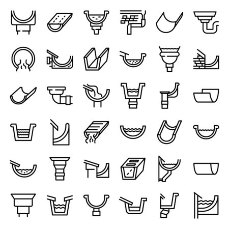 Gutter icons set, outline style