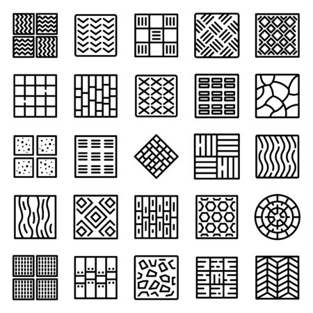 Paving icons set, outline style