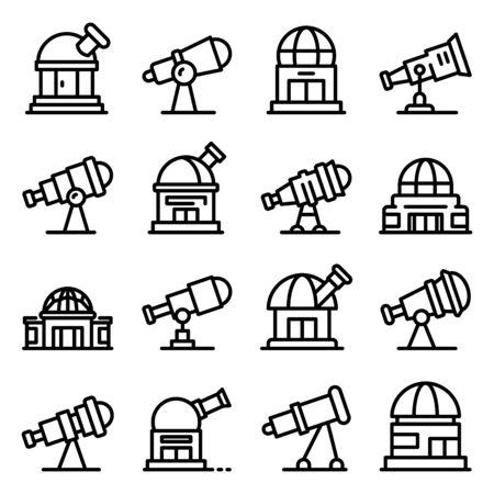 Planetarium icons set, outline style Illusztráció