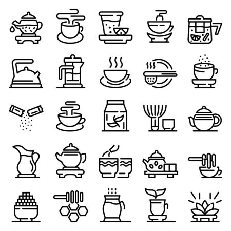 Tea ceremony icons set, outline style 일러스트