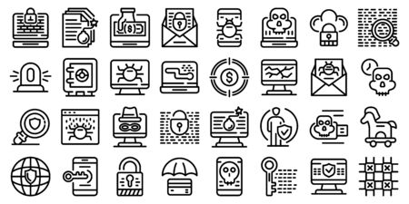 Fraud icons set, outline style