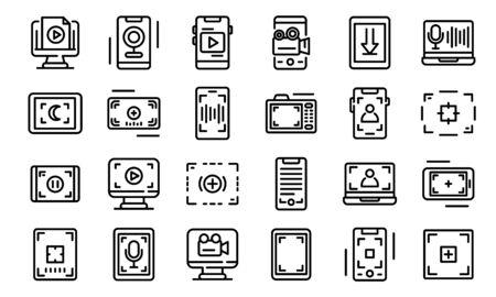 Screen recording icons set, outline style Vecteurs