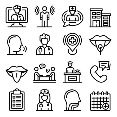 Speech therapist icons set, outline style