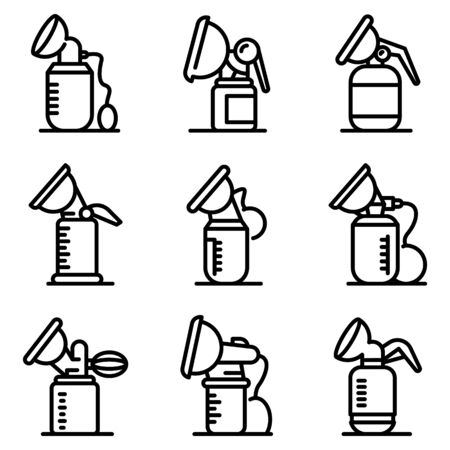 Breast pump icons set, outline style