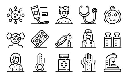Chicken pox icons set, outline style