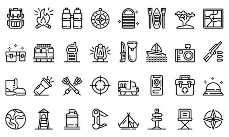 Safari equipment icons set, outline style