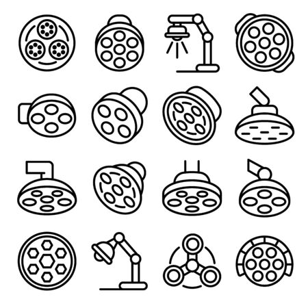 Surgical light icons set, outline style 向量圖像
