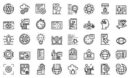 Testing software icons set, outline style Illusztráció