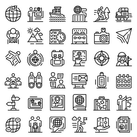Guide icons set, outline style