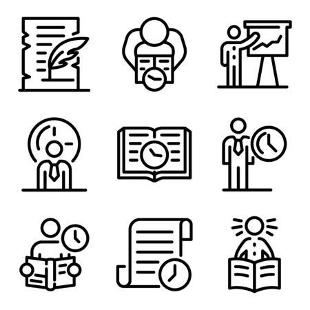 Historian icons set, outline style Çizim