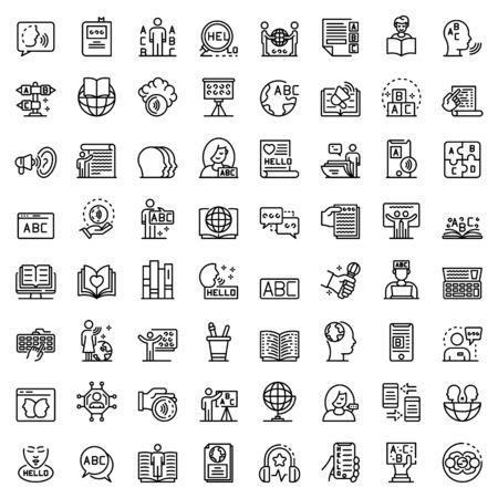 Linguist icons set, outline style Ilustrace