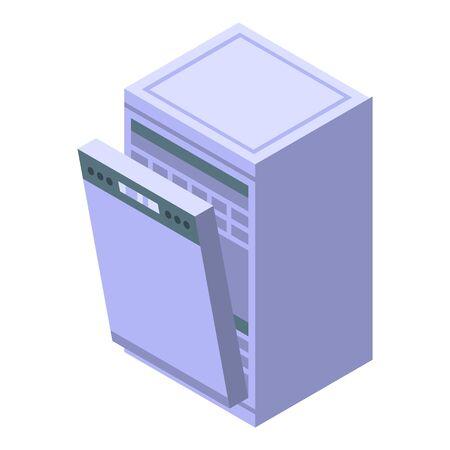 Empty dishwasher icon. Isometric of empty dishwasher vector icon for web design isolated on white background