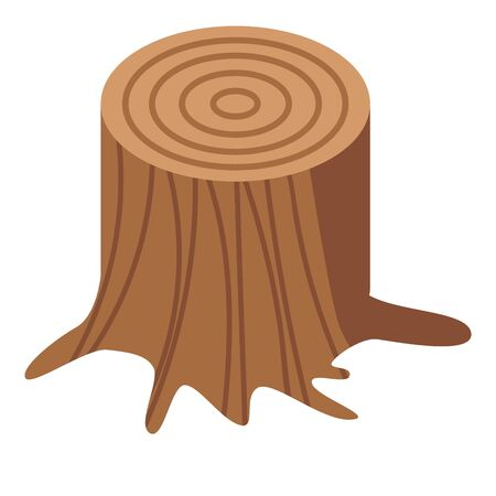Wood stump icon, isometric style