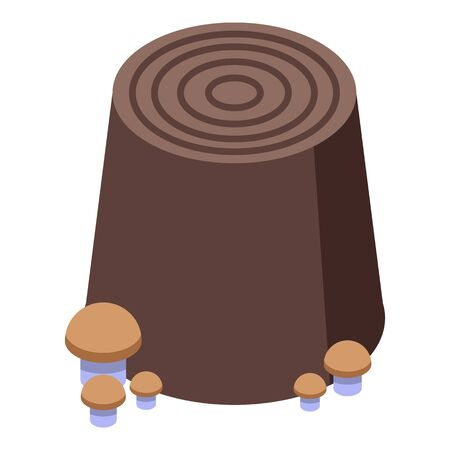 Mushroom on tree stump icon, isometric style