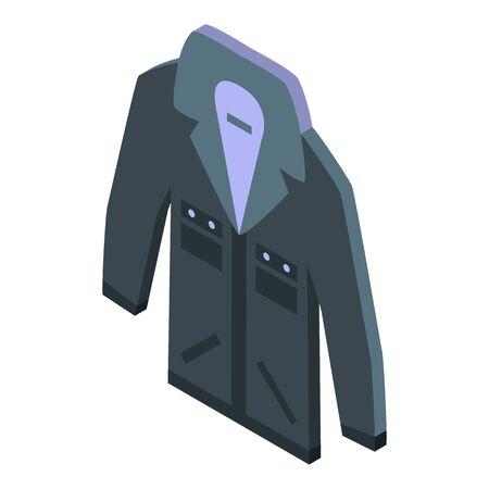Black jeans jacket icon, isometric style Stock Illustratie