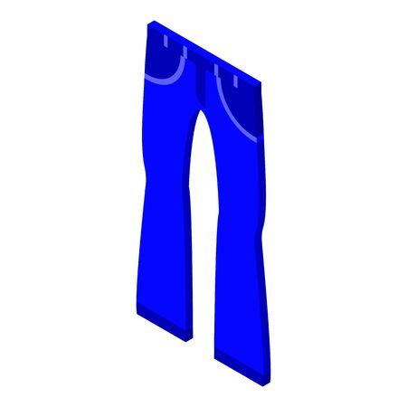 Denim jeans icon, isometric style