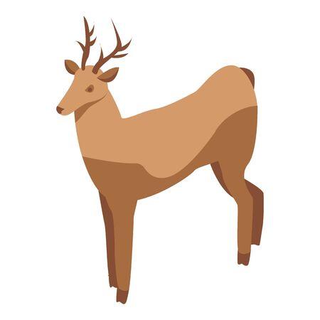 Wildlife deer icon, isometric style Çizim