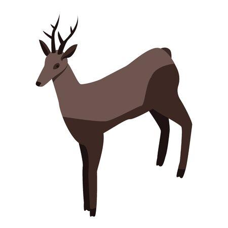 Icône de cerf de Noël, style isométrique Vecteurs