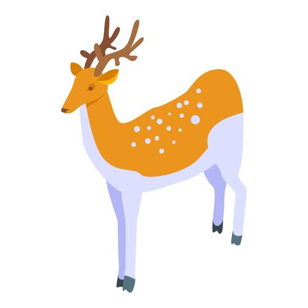 Female deer icon. Isometric of female deer vector icon for web design isolated on white background