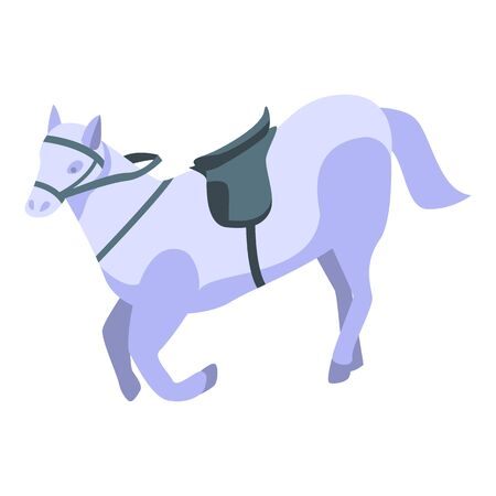 White horse icon. Isometric of white horse vector icon for web design isolated on white background