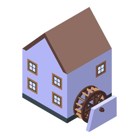 House water mill icon. Isometric of house water mill vector icon for web design isolated on white background