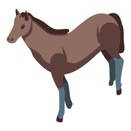 Mustang horse icon. Isometric of mustang horse vector icon for web design isolated on white background 向量圖像