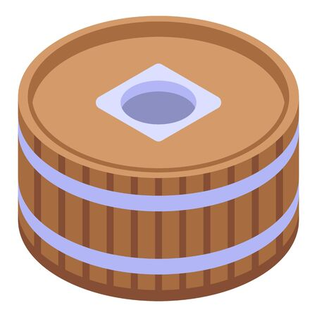 Barrel water mill icon. Isometric of barrel water mill vector icon for web design isolated on white background