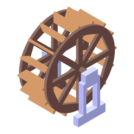 Water mill tower wheel icon. Isometric of water mill tower wheel vector icon for web design isolated on white background