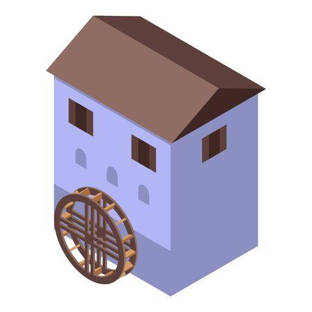 Netherland water mill icon. Isometric of Netherland water mill vector icon for web design isolated on white background Ilustração