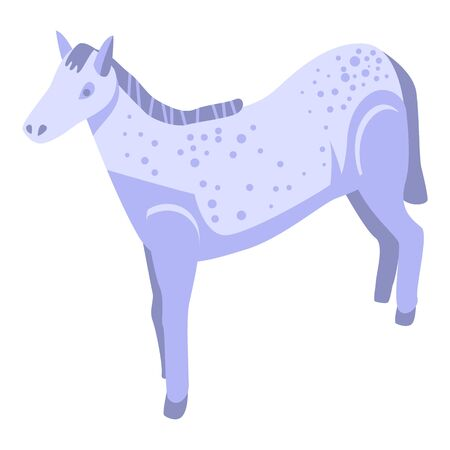 White dotted horse icon. Isometric of white dotted horse vector icon for web design isolated on white background