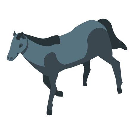 Black small horse icon. Isometric of black small horse vector icon for web design isolated on white background