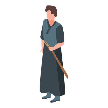 Knight samurai icon, isometric style