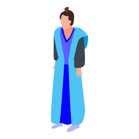 Blue clothes samurai icon, isometric style Standard-Bild - 137941521