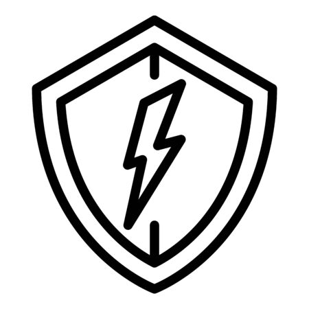 Electric protect shield icon, outline style