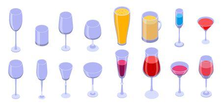 Wineglass icons set, isometric style Ilustração