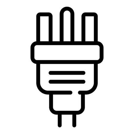 Power plug icon, outline style Vectores