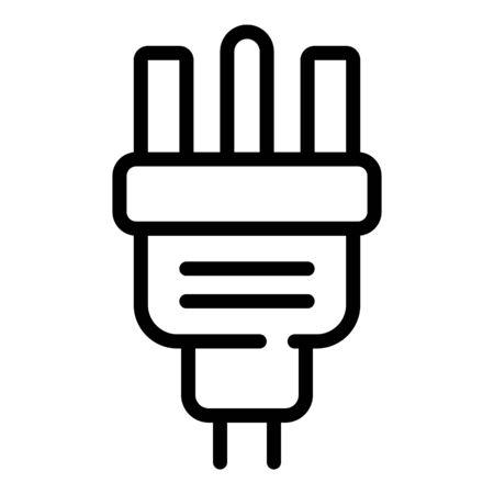 Power plug icon, outline style Illustration