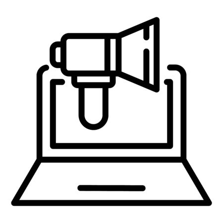 Megaphone on laptop icon, outline style