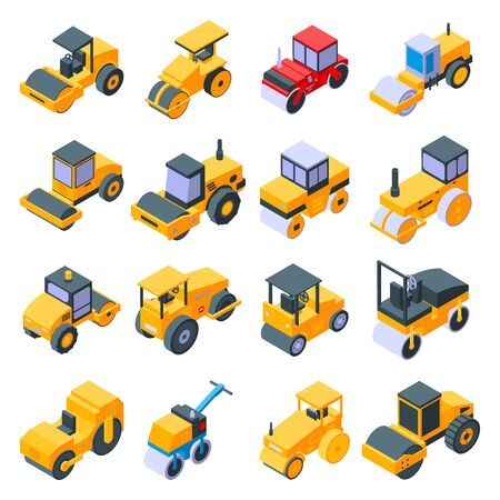 Road roller icons set. Isometric set of Road roller vector icons for web design isolated on white background Illustration